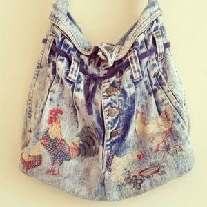 Acid Wash Jeans Rooster Shoulder Bag